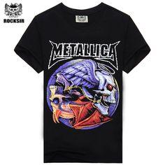 100%綿の夏のtシャツプリントtシャツロックバンドメタリカビッグサイズメンズtシャツロックンロール黒色s-xxxlサイズtシャツ