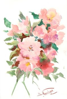 Light Pink, Violet Roses, Original watercolor painting, 15 X 10 in, garden roses floral art, flowers painting