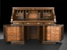 American Renaissance Revival Walnut Roll-Top Desk - I LOVE THIS!!!!