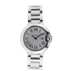 Pre-owned Cartier Ballon Bleu Stainless Steel Small Size W69010Z4... (815 KWD) ❤ liked on Polyvore featuring jewelry, watches, stainless steel bracelet, roman numeral watches, roman numeral bracelet, stainless steel wrist watch and water resistant watches