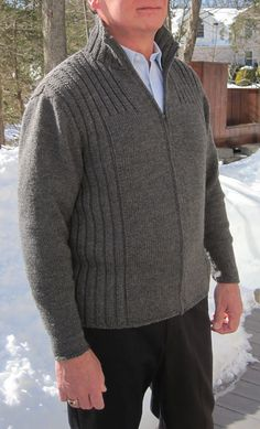 "Knitting Pattern for Cambridge Jacket - Long-sleeved men's zip front cardigan with rib details. Sizes 35 (39, 44, 48, 52)"" 89 (99, 112, 122, 132) cm chest circumference, zipped. Designed by Ann Budd. Pictured project by oliveknit"