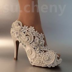 "3""4"" heel satin white ivory lace pearls open toe Wedding shoes bride size 5-9.5 #weddingshoes"
