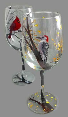 Seasonal Wine Glass Set of Four Hand Painted Birds Hummingbird Cardinal Yellow Finch Woodpecker Summer Spring Winter Fall Unique Art Gift, Broken Glass Art, Sea Glass Art, Stained Glass Art, Glass Paint, Mosaic Glass, Glass Bottle Crafts, Bottle Art, Wine Glass Set, Painted Wine Glasses