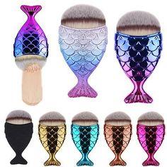 Mermaid Tail Fish Scale Makeup Cosmetic Brush Powder Cream Foundation Blush | eBay