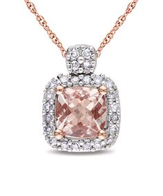 Morganite & Diamond Princess Pendant Necklace  now this is a great color for a Morganite