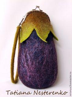 """Купить Клатч """"Баклажан"""" - тёмно-фиолетовый, абстрактный, баклажан, маленькая сумочка, валяная сумочка, клатч"""