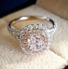 Platinum 4.05 Ct Cushion Cut Dual Halo & Pink Diamond Engagement Ring G,VS2 GIA