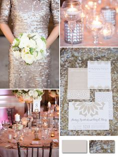 champagne sequins neutral color wedding ideas for fall 2014 #elegantweddinginvites