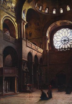 """""""Interior of Saint Mark's Basilica in by Aleksander Gierymski , oil on canvas, 110 x 78 cm, National Museum, Warsaw Nocturne, Saint Mark's Basilica, Regions Of Europe, Cityscape Art, Traditional Paintings, Thats The Way, Grand Tour, Old Master, Urban Landscape"""