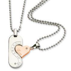Women's Rose Gold Stainless Steel CZ 2 Piece Love Necklace Chain Set Available Exclusively at Gemologica.com