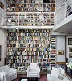 Modern Loft interior design in contemporary ideas Studio House, Library Bookshelves, Bookcases, Loft Interior Design, Loft Design, Dream Library, Future Library, Library Wall, Loft Interiors