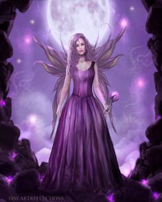 Purple Fairy Fantasy Art Print. via Etsy.