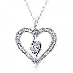 """Two"" Stone Diamond Milgrain Heart Pendant 1/4 CTW in 10K White Gold"