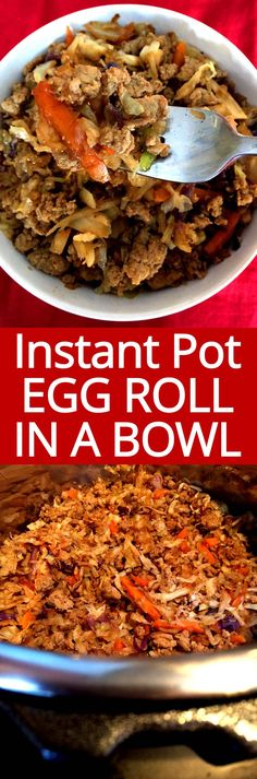 Instant Pot Egg Roll In A Bowl is so easy and healthy! Perfect lowcarb dinner! I love my Instant Pot!