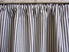 Curtain Cabinet Sink Black By Cottagehomecouture Ticking Stripe Fabric Curtains