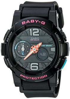 Men's Wrist Watches - GShock Womens BGA180 Glide with Tide Graph BabyG Series Designer Watch Black One Size -- Check out this great product.