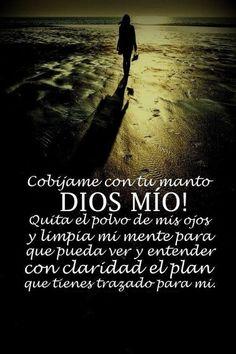 Cobíjame con tu manto Dios mio!!! Quita el polvo de mis ojos y limpia mi mente para que pueda ver y entender con claridad el plan que tienes trazado para mi.