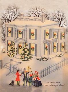 """Vintage """"it Came Upon The Midnight Clear!!"""" Christmas Greeting Card"""
