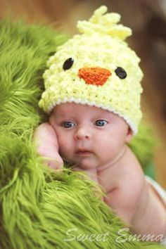 Baby CROCHET PATTERN Spring Chick Beanie   with BONUS Hairbow Tutorial (6 sizes included from newborn-adult) via   Etsy