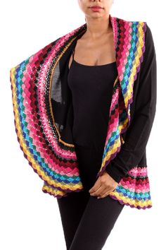 The Texas Cowgirl - Multi Color Black Crochet Cardigan Sweater, (http://www.thetexascowgirl.com/multi-color-black-crochet-cardigan-sweater/)