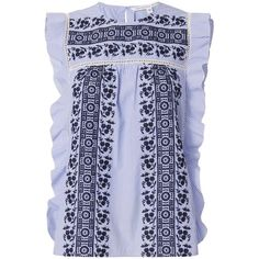 Veronica Beard Women's Cece Embroidered Eyelet Ruffle Top (435 CAD) ❤ liked on Polyvore featuring tops, light blue, sleeveless tops, embroidery top, grommet top, flutter-sleeve top and ruffle top