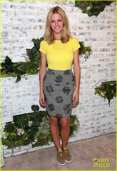 Brooklyn Decker flashes a smile as she attends the Splendid Soho store opening on Thursday (April 19) in New York City.