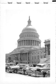 Photograph Snapshot Vintage Black and White: Capital Building Cars Dome 1950's