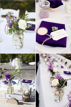 purple wedding decor  -- mason jars with flowers for the centerpieces.  Pretty and simple. Would probably go with a lily instead of roses..