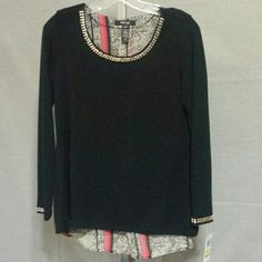 Gold stud hi-lo black sweater Rayon polyester NWT Style & Co Sweaters