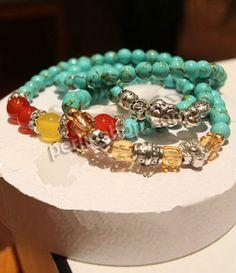 Mode Türkis Armbänder, Zinklegierung, mit Messing Strass Zwischenstück  Türkis  Roter Achat  Gelber Achat  Kristall, antik silberfarben ...