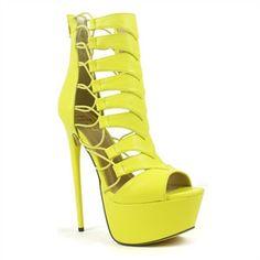 Fahrenheit Lime Strappy Chevron Stiletto High-heel Sandal | Vicky-01