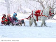 Kids being pulled by a mini horse