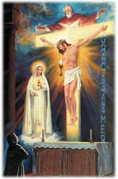 The Father, the Son, the Holy Spirit.  Mary, her Immaculate Heart and the Rosary.  Christ being depicted as pouring himself into and transforming the Eucharist.  The alter upon which all this is happening, and a sister kneeling in front of it in awe.