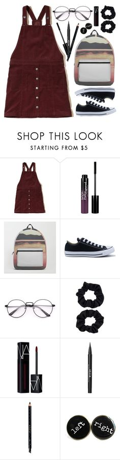 """""""OOTD - Overall Dress"""" by artbyjwp ❤ liked on Polyvore featuring Hollister Co., NYX, Converse, Accessorize, NARS Cosmetics, Stila and Gucci"""