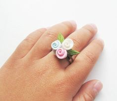 Toddler  Ring Pink blue and white Clay Flower  by Yayahandicraft, $6.00