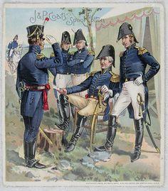 J P Coats Spool Cotton Thread Trade Card - US Army Uniforms 1813 1821