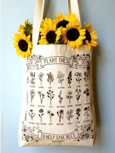 "hannah-rosengren:  Just added to the shop: new & improved ""Plant These to Help Save Bees"" eco-friendly tote bags! Made in Bedford, NH & screen printed in Portland, ME."