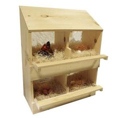 Wood Poultry Laying Nest Box - 4 Holes - Wood, Pine - Hen Chicken Nesting Laying Box