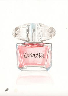 Versace Bright Crystal Fragrance - Watercolor perfume bottle illustration on… Perfume Arte, Perfume Bottles, Coco Chanel, Parfum Chanel, Versace Bright Crystal, Industrial Design Sketch, Beauty Illustration, Watercolor Print, Watercolor Pictures