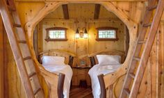 Beautifully crafted woodwork creates a fairytale-like bedroom. This storybook charm was created by The Treehouse Workshop. - housebeautiful.co.uk