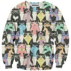 Hipster Kitties Sweatshirt  #cat #kitties #hipster #colors #full print #meowhausclth #funny#teenage