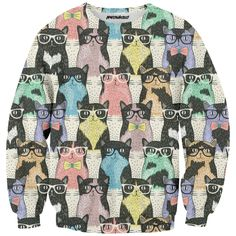 Hipster Kitties Sweatshirt  #cat #kitties #hipster #colors #full print #meowhausclth #funny#teenage