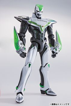 """A member of Bandai's new series, 12"""" Perfect Model, this breathtakingly awesome figure depicting Wild Tiger from Tiger & Bunny goes well past the regular concept of """"detailed."""" It has approximately 20 LEDs illuminating parts of his armor and comes with a number of spare parts that allow for a wide range of poses, including 5 fixed pose hands and a pair with posable fingers, the face of Kotetsu T. ..."""