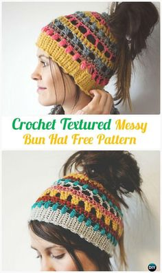 Crochet Multicolor TexturedBunHatFreePattern - #Crochet Ponytail Messy Bun Hat Free Patterns
