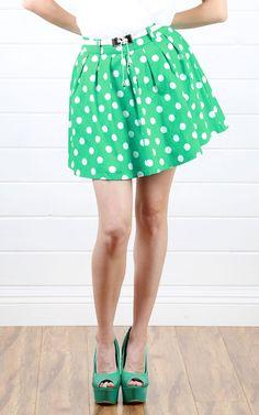 Green Polka Dot Skirt! SO CUTE
