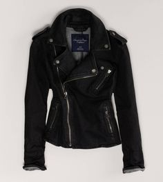 love this denim moto jacket! much easier to care for than leather, and these hot jackets are cute with so many outfits!