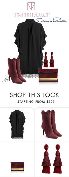 """Tamara Mellon look with Oscar de la Renta earrings"" by dgia ❤ liked on Polyvore featuring Tamara Mellon and Oscar de la Renta"