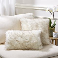 Set of 2 White Lynx Faux Fur Pillows design by Tozai ($93) ❤ liked on Polyvore featuring home, home decor, throw pillows, pillows, twin pack, white accent pillows, tozai, set of 2 throw pillows and white home accessories