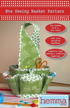 Eva Sewing Basket Pattern by HemmaDesignPatterns on Etsy, $12.95