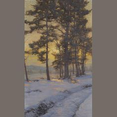 Walter Launt Palmer (American, 1854-1932) Path through the snow under golden skies  signed 'W.L. Palmer' (lower left) oil on canvas 30 x 18in